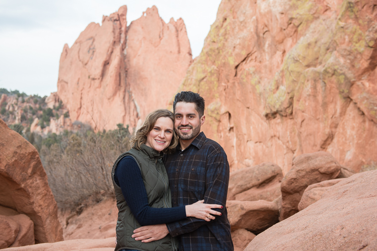 couple in front of red rocks at Garden of the Gods