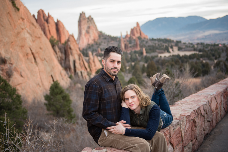 couple on a wall at the Garden of the Gods